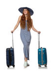 The woman preparing for summer vacation on white Stock Photo