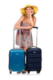 The woman preparing for summer vacation on white Royalty Free Stock Photos