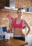 Woman preparing supplements Stock Photos