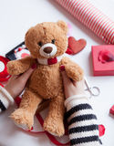 Woman preparing teddy bear toy and gift Stock Image
