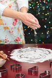 Woman preparing to baking Christmas cookies Stock Photography
