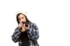Woman preparing to take photograph Royalty Free Stock Photos
