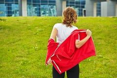 Woman preparing for training Royalty Free Stock Photo