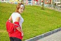 Woman preparing for training Royalty Free Stock Image