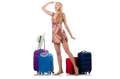 Woman preparing for travel Stock Images