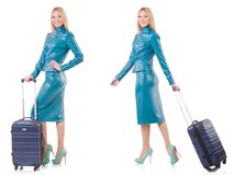 The woman preparing for vacation with suitcase on white Stock Photography