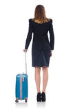 Woman preparing for vacation with suitcase Stock Images