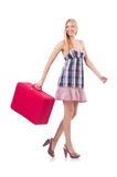 Woman preparing for vacation with suitcase Stock Photo