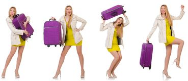 The woman preparing for vacation with suitcase on white Stock Photo