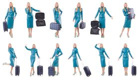 The woman preparing for vacation with suitcase on white Stock Images