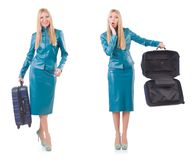 The woman preparing for vacation with suitcase on white Royalty Free Stock Images