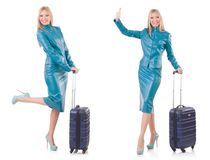 The woman preparing for vacation with suitcase on white Royalty Free Stock Photos