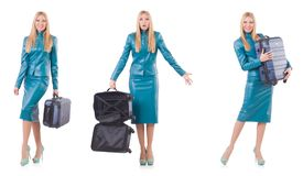 The woman preparing for vacation with suitcase on white Royalty Free Stock Photography