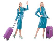 The woman preparing for vacation with suitcase on white Stock Photos