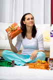 Woman with present Stock Photo
