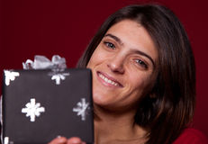 Woman with a present Stock Photos