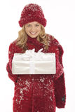 Woman with a present Royalty Free Stock Photo