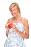 Woman with present Stock Image