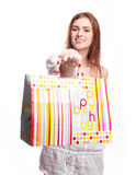 Woman with a present Royalty Free Stock Images