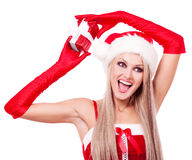 Woman with a present Stock Images