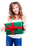 Woman with a present Stock Image