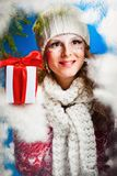 Woman with present Royalty Free Stock Photo