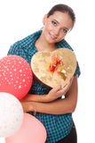 Woman with present and balloons happy birthday. Young woman with present and balloons for happy birthday isolated on white background Royalty Free Stock Photo
