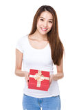 Woman with present box Stock Photography