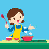 Woman present cooking vector illustration