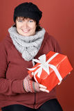 Woman with present Stock Images