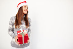 Woman with present Stock Photos