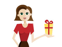 Woman with present Royalty Free Stock Photography