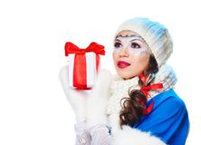 Woman with present wrapped in white paper Royalty Free Stock Images