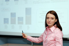 Woman on presentation Stock Images