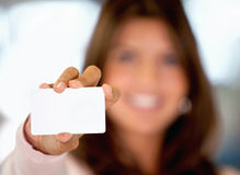 Woman with a presentation card Royalty Free Stock Photo