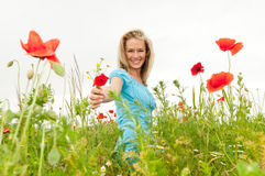 Woman presented  a bouquet Stock Photos