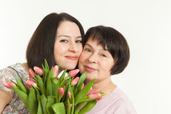 The woman presented a bouquet Royalty Free Stock Images
