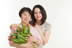 The woman presented a bouquet Stock Photos