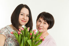 The woman presented a bouquet Royalty Free Stock Photo