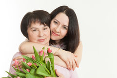 The woman presented a bouquet Stock Image