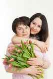 The woman presented a bouquet Royalty Free Stock Image