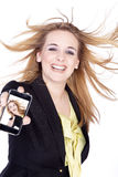 Woman presented with a mobile phone Royalty Free Stock Image