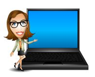 Woman Presenter With Laptop. An illustration featuring a cartoonish woman standing beside a laptop in a presentation pose. Screen is blank for custom text