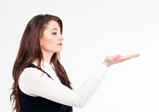 Woman presenting royalty free stock photos