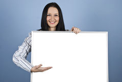 Woman presenting on blank banner Royalty Free Stock Photos