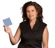 Woman presenting a blank card Stock Photography