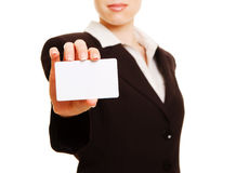 Woman presenting business card Royalty Free Stock Photo