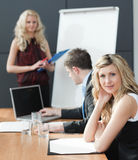 Woman presenting at a business teamwork meeting Stock Photos