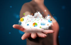 woman presenting cloud with charts Royalty Free Stock Photo