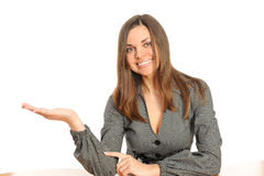 woman presenting copy space Stock Photo